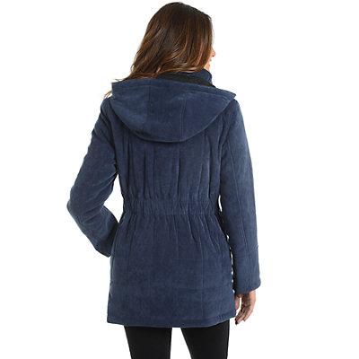 Women's Fleet Street Hooded Quilted Faux-Suede Jacket