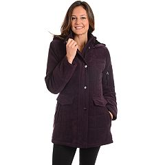 Women's Fleet Street Hooded Quilted Faux-Suede Jacket