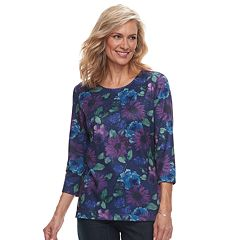 Petite Croft & Barrow® Jeweled Scoopneck Top