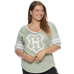 Juniors' Plus Size Harry Potter Hogwarts Crest Football Graphic Tee