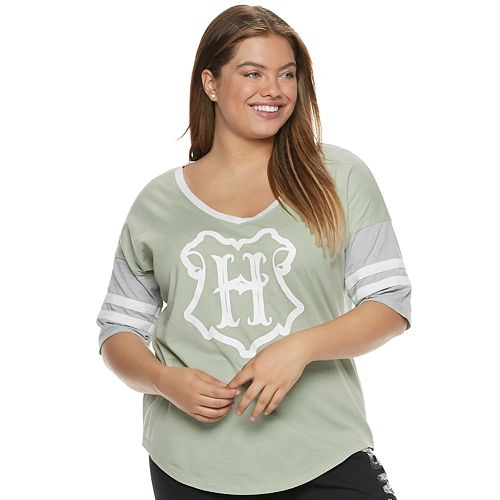 19648f76d01 Juniors  Plus Size Harry Potter Hogwarts Crest Football Graphic Tee