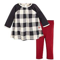 Baby Girl Burt's Bees Baby Organic Buffalo Check Dress & Leggings Set