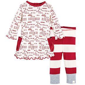 Baby Girl Burt's Bees Baby Organic Cross-Stitch Print Dress & Striped Leggings Set