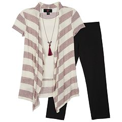 Girls 7-16 IZ Amy Byer Striped Short Sleeve Tunic & Leggings Set with Necklace
