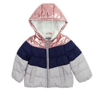 Toddler Girl OshKosh B'gosh® Metallic Colorblock Hooded Heavyweight Jacket