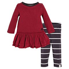 Baby Girl Burt's Bees Baby Organic Thermal Ruffled Dress & Striped Leggings Set