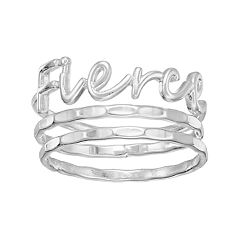 LC Lauren Conrad Fierce Script Ring Set