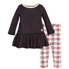 Baby Girl Burt's Bees Baby Organic Thermal Ruffled Dress & Buffalo Check Leggings Set