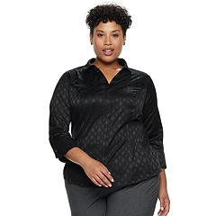 Plus Size Dana Buchman Hidden Placket Button-Down Shirt