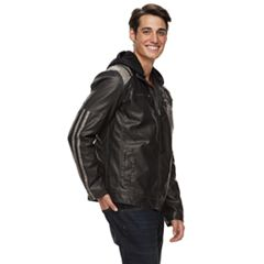 Men's XRAY Slim-Fit Washed Faux-Leather Racer Jacket