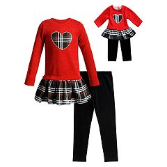 Girls 4-10 Dollie & Me Knit Plaid Dress, Leggings & Matching Doll Outfit Set