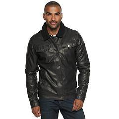 Men's XRAY Slim-Fit Faux-Leather Trucker Jacket