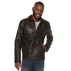 Men's XRAY Slim-Fit Faux-Leather Trucker Jacket
