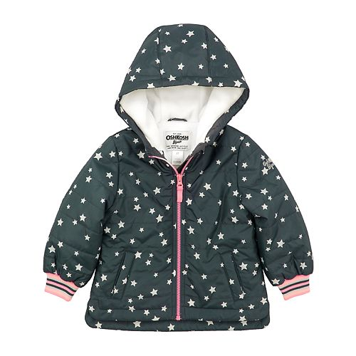 Toddler Girl OshKosh B'gosh® Star Hooded Midweight Jacket