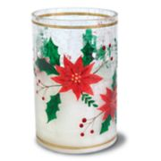 Apothecary Poinsettia Hurricane Flickering LED Candle