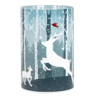 Apothecary Reindeer Hurricane Flickering LED Candle