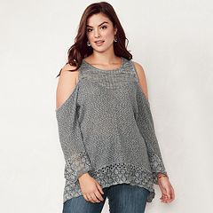 Plus Size LC Lauren Conrad Pointelle Cold Shoulder Top