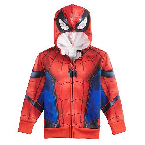 Toddler Boy Marvel Spider-Man Costume Mask Zip Hoodie