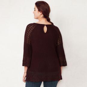 Plus Size LC Lauren Conrad Pointelle Sweater