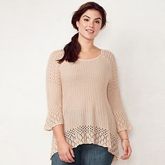 Plus Size LC Lauren Conrad Pointelle Sweater