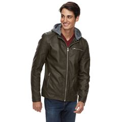Men's XRAY Slim-Fit Hooded Faux-Leather Moto Jacket