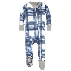 Baby Boy Burt's Bees Baby Organic Plaid Footed Coverall