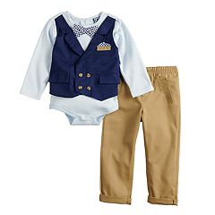 Baby Boy Little Lad Mock Vest Bodysuit & Pants Set
