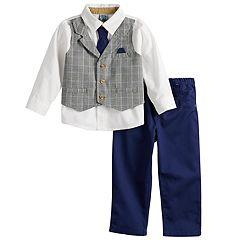 Baby Boy Little Lad Mock Plaid Vest Button Down Shirt, Tie & Pants Set