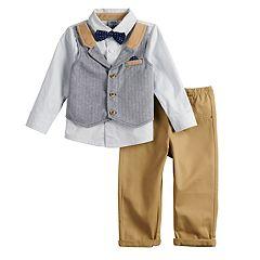 Baby Boy Little Lad Mock Vest Button Down Shirt, Bow Tie & Pants Set