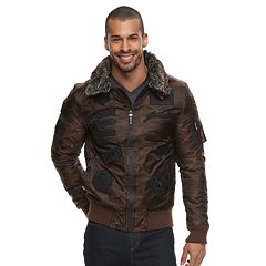 Men's XRAY Removable Faux Fur Collar Flight Jacket
