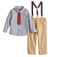 Baby Boy Little Lad Tie, Shirt & Suspender Pants Set