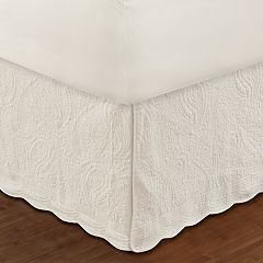 Paisley Quilted Ivory Bedskirt