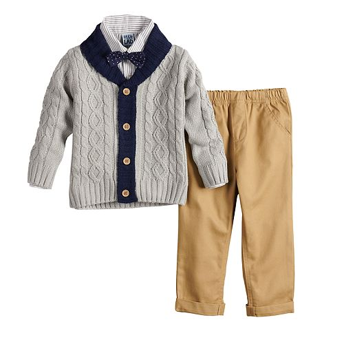 Baby Boy Little Lad Cardigan, Shirt & Pants Set with Bowtie