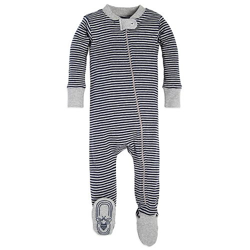 Baby Boy Burt's Bees Baby Organic Striped Footed Coverall