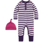 Baby Girl Burt's Bees Baby Organic Striped Henley Coverall & Hat Set