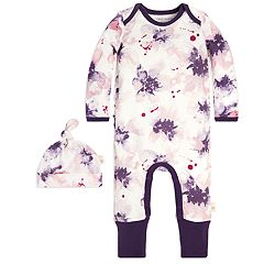 Baby Girl Burt's Bees Baby Organic Watercolor Floral Coverall & Hat Set