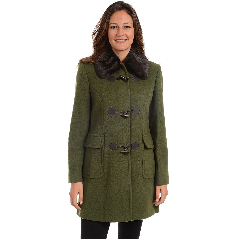 Women's Fleet Street Faux-Fur Trim Wool Blend Coat