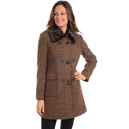 Women's Fleet Street Tweed Faux-Fur Trim Collar