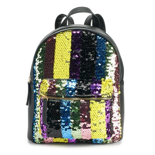 OMG Accessories Striped Sequin Mini Backpack