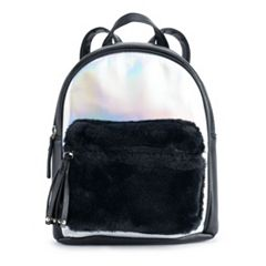 OMG Accessories Hologram Faux-Fur Pocket Mini Backpack