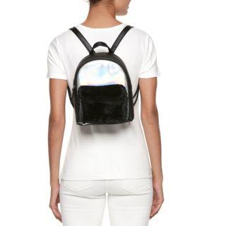 OMG Accessories Hologram Faux-Fur Pocket Mini Backpack