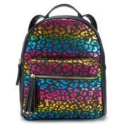 OMG Accessories Glitter Rainbow Leopard Mini Backpack