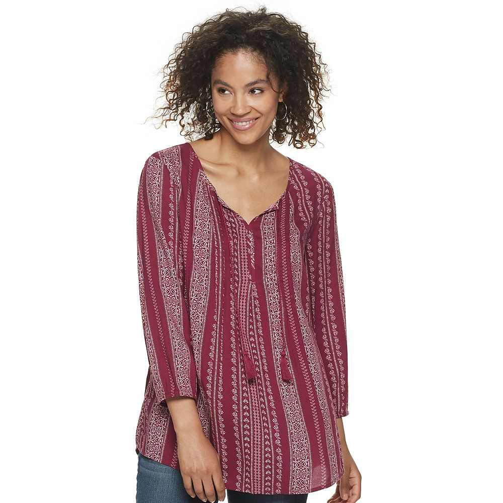 Women's SONOMA Goods for Life® Print Pintuck Peasant Top