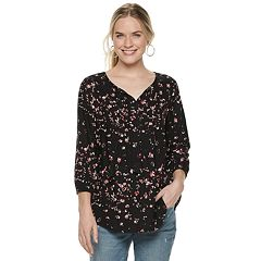 72bf6a1c63083e Women s SONOMA Goods for Life™ Printed Pintuck Peasant Top
