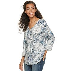 480865d202d980 Women s SONOMA Goods for Life™ Printed Pintuck Peasant Top