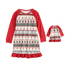 Girls 4-16 Jammies For Your Families Polar Bear Fairisle Family Pajamas Nightgown & Doll Gown Set by Cuddl Duds