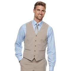 Men's Savile Row Modern-Fit Striped Tan Suit Vest