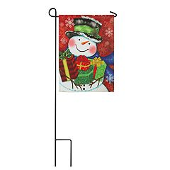 Snowman Bringing Presents Indoor / Outdoor Garden Flag