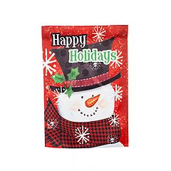 'Happy Holidays' Snowman Indoor / Outdoor Garden Flag