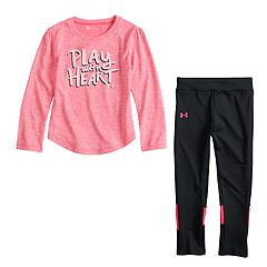 Toddler Girl Under Armour 'Play With Heart' Graphic Tee & Colorblock Leggings Set